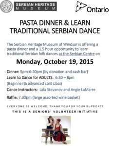 Pasta Dinner & Kolo Lessons @ Serbian Centre - Topola Hall | Windsor | Ontario | Canada