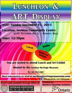 Luncheon & Art Display @ Serbian Community Centre - Kosovo Hall | Windsor | Ontario | Canada