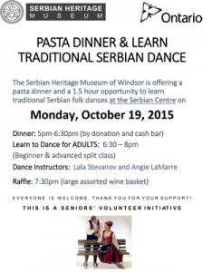 Pasta Dinner & Kolo Lessons @ Serbian Centre - Topola Hall | Windsor | Ontario | Canada